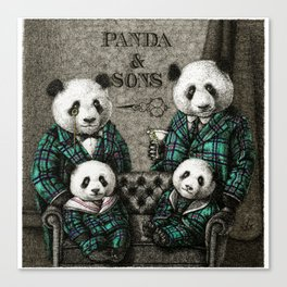 Panda Family Portrait Canvas Print