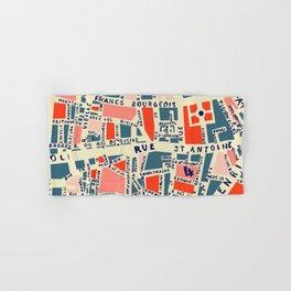 paris map blue Hand & Bath Towel