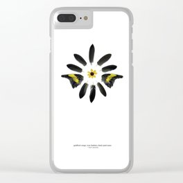 feather mandala... goldfinch wings, crow feathers, black eyed susan Clear iPhone Case