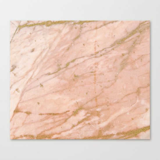Pink marble with gold veins Canvas Print