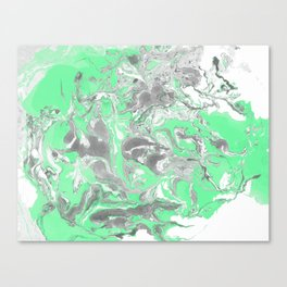 Light green and gray Marble texture acrylic paint art Canvas Print