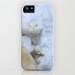 Polar bear mom with twins. iPhone Case