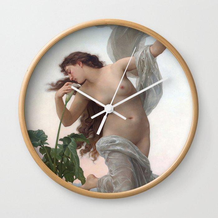Dawn by William Adolphe Bouguereau (Nude Art) Wall Clock