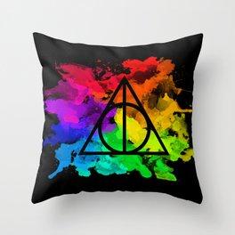 Rainbow Hallows  Throw Pillow