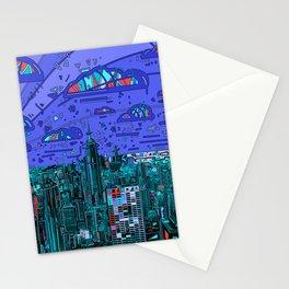new york city panorama blue Stationery Cards