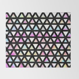 Neon and Black Rainbow Triangle Pattern Throw Blanket