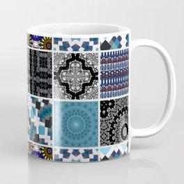 Patchwork . Blue , black and grey . Coffee Mug