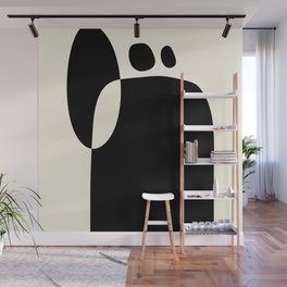 shapes black white minimal abstract art Wall Mural