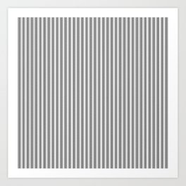 Trendy French Black and White Mattress Ticking Double Stripes Art Print