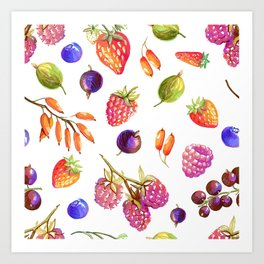 hand drawn oil berries Art Print
