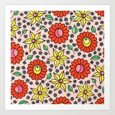 Hungarian embroidery inspired floral - red,yellow,and small flowers Art Print
