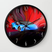 lamborghini Wall Clocks featuring Lamborghini Huracán by JT Digital Art