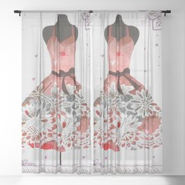 Floral Silver Pink Purple Lace Sparkle Dress Sheer Curtain