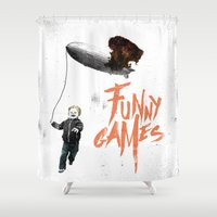 games Shower Curtains featuring Funny Games by inbloom design