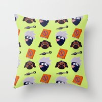 kakashi Throw Pillows featuring Kakashi Pattern by Palloma