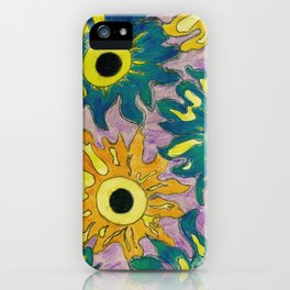 Green and orange Sunflowers. iPhone Case