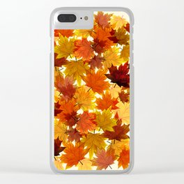 Red Maple Leaves Clear iPhone Case