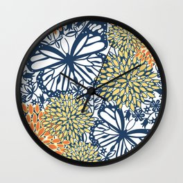 Butterfly Art, Floral Prints, Navy Blue, Orange, Yellow, Coloured Prints Wall Clock