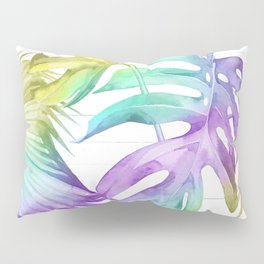 Tropical Rainbow Palm Leaves on Wood Pillow Sham