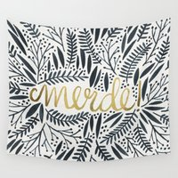 french Wall Tapestries featuring Pardon My French – Black & Gold by Cat Coquillette