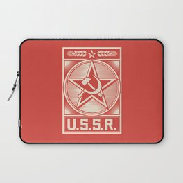 star, crossed hammer and sickle - ussr poster (socialism propaganda) Laptop Sleeve