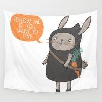 ninja Wall Tapestries featuring Ninja Bunny by Anke Weckmann