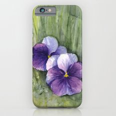 Purple Pansies Watercolor Flowers Painting Violet Floral Art Slim Case iPhone 6s