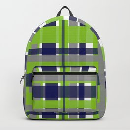 Retro Modern Plaid Pattern 2 in Lime Green, Bright Navy Blue, Gray, and White Backpack