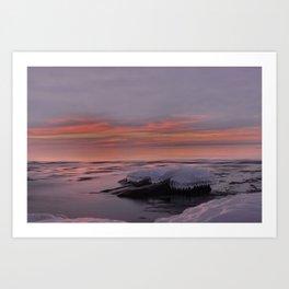 Icy Watercolor Sunrise Art Print