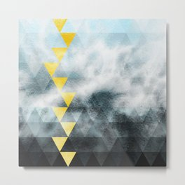 Grey and blue triangles pattern Metal Print