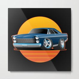 Classic Sixties American Big Muscle Car Cartoon Illustration Metal Print