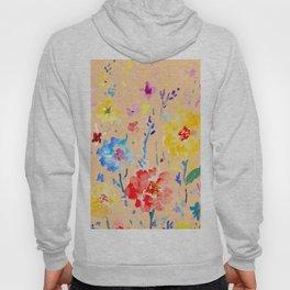 Watercolor Decorative Poppy Orange Background Hoody