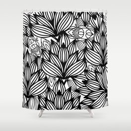 Modern hand drawn black white watercolor floral Shower Curtain