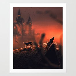 Red Halloween Night 2 Art Print