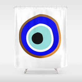 Grecian Gold evil eye in blue on white Shower Curtain