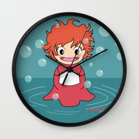 ponyo Wall Clocks featuring Kokeshi Ponyo by Pendientera