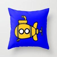 yellow submarine Throw Pillows featuring Yellow Submarine by Caroline Blicq