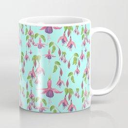 Watercolour Fuchsia Flower Pattern - Light Teal Coffee Mug