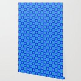 Retro Blue Lotus Checkerboard Wallpaper
