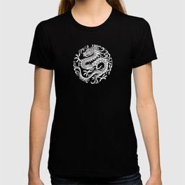Traditional White and Black Chinese Dragon Circle T-shirt