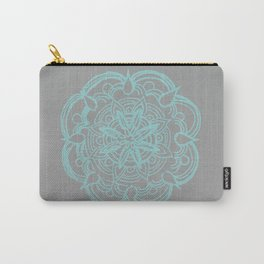 Mint Gray Romantic Flower Mandala #4 #drawing #decor #art #society6 Carry-All Pouch