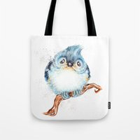 baby Tote Bags featuring Baby titmouse by Patrizia Ambrosini