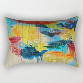 VANCOUVER RAIN - Stunning Rainbow Colorful Bold bright Rain Clouds Stormy Day Wow Abstract Painting Rectangular Pillow