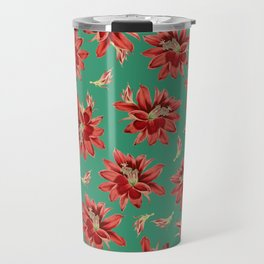 Red Christmas Flowers on Green Botanical Floral Pattern Travel Mug