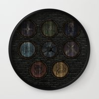 skyrim Wall Clocks featuring Shield's of Skyrim by VineDesign