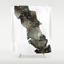 Black and Gold River: Original Abstract Alcohol Ink Painting Shower Curtain