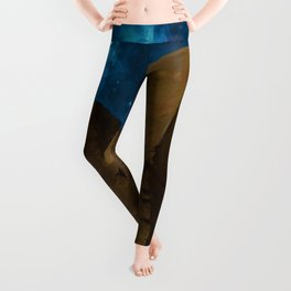 'Great Sphinx and Giza Egyptian Pyramids Of Giza' star-gazing landscape painting Leggings