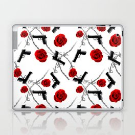Roses Barbed Wire Guns Pattern Love Is War Laptop & iPad Skin