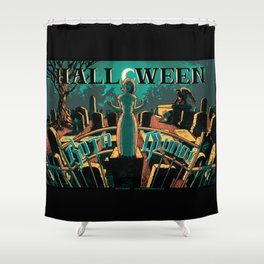 KOTA MUNDI Halloween Poster Shower Curtain