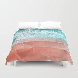 The Break - Turquoise Sea Pastel Pink Beach II Duvet Cover